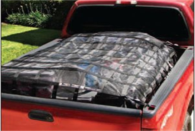 A cargo net rated to the weight of the load is the most effective way to keep items from escaping a truck bed. Photo courtesy of Cargo Transportation Safety Organization.