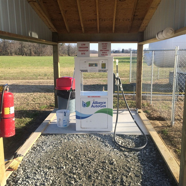A single propane dispenser was installed off of the company's existing 12,000-gallon propane tank.