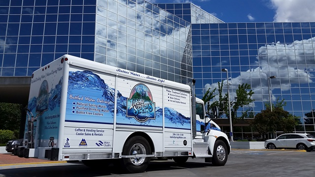 Each of Idaho Springs Water's Kenworth T270 trucks features a wrap with an image of clean flowing water. Photo courtesy of Idaho Springs Water.