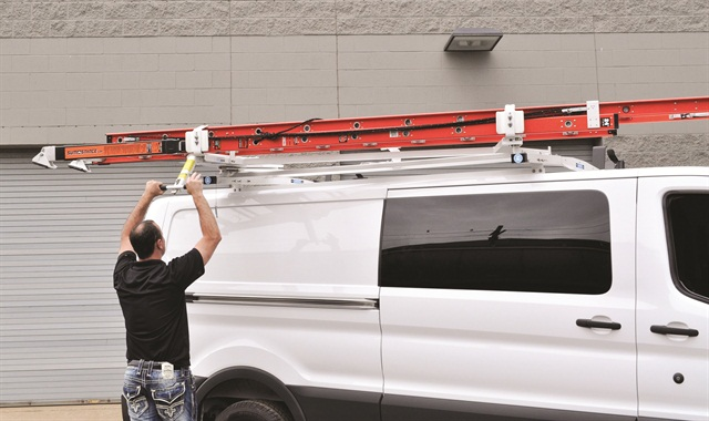 Adrian Steel's LoadsRite Drop-Down Ladder Rack for the low-roof Ford Transit cargo van. Photo courtesy of Adrian Steel.