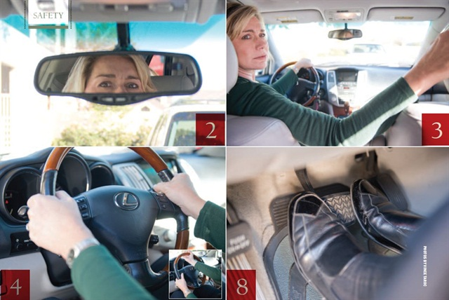 Driving Do's (Left to right): Check your mirrors every 5 to 6 seconds while driving (tip #2). Instead of relying only on a back-up camera, look over your right shoulder and leave your left hand on the steering wheel when backing up (tip #3). Driving Don'ts (left to right): Avoid curling your fingers inside the wheel when turning (tip #4). Don't use both feet when braking; keep your left foot on the floor board  (tip #8).
