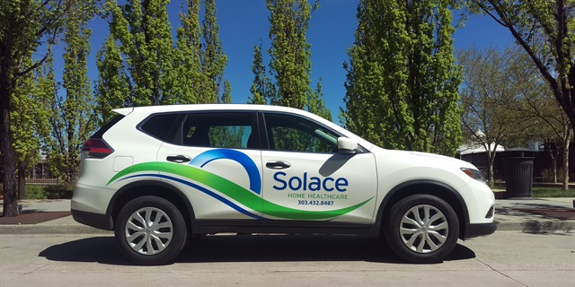 Solace Home Healthcare's new Nissan Rogues feature the company logo. Photo courtesy of Solace Home Healthcare.