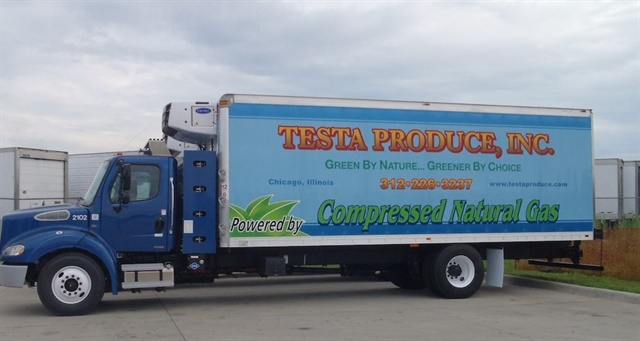 Testa Produce has 24 straight trucks in its delivery fleet running on CNG. Photo courtesy of Testa Produce