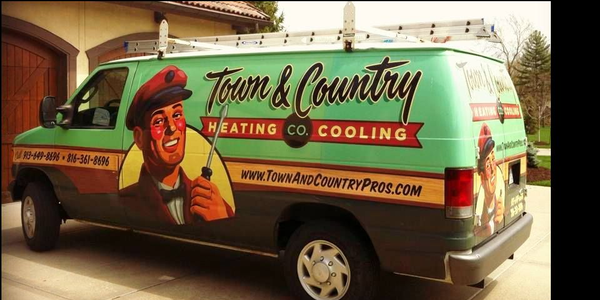 Town & Country's branding was inspired by a furnace logo from the 1940s/1950s. Its vehicle wraps...