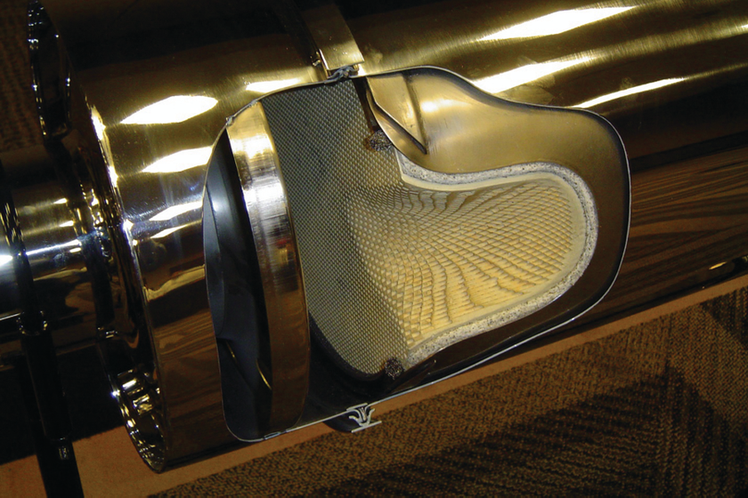 This cutaway reveals the insides of a diesel particulate filter and shows how the small tubes...