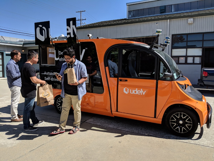 Udelv replaced this autonomous prototype vehicle with a van built on a Ford Transit Connect chassis and developed with Baidu'sautonomous driving platform. Udelv recently announced a partnership with Walmart for autonomous grocery delivery. - Photo via Udelv.