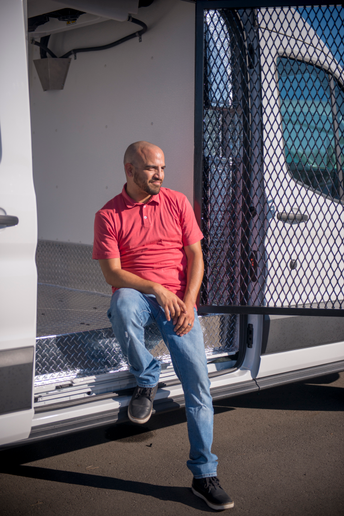 The Reefer King: Johnny Jaime, fleet manager for South Bay Ford in Hawthorne, Calif., created a cannabis-certified van with refrigeration units that regulate temperatures from 20 to 60 degrees. - Photo by Vince Taroc.