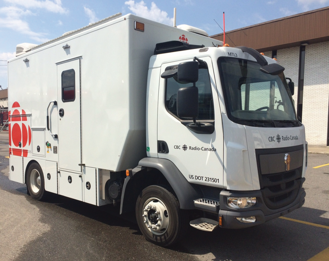 For covering local news, the CBC uses three Kenworths with custom-built mobile production units worth about $800,000-$1 million each. Photo: CBC