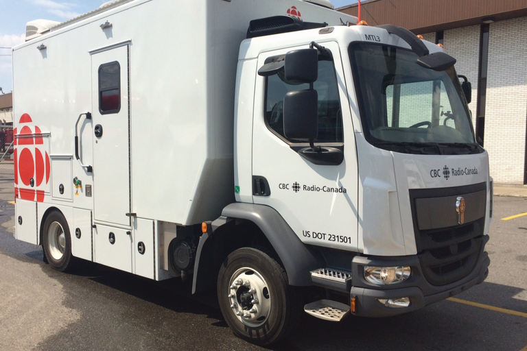 For covering local news, the CBC uses three Kenworths withcustom-built mobile production units...