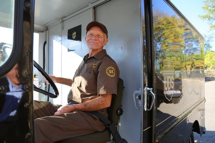 In 2017, UPS package car driver Tom Camp was honored as the company's longest tenured safe driver. Recognizing drivers for accomplishments and milestones is a key component of boosting driver morale. - Photo courtesy of UPS.