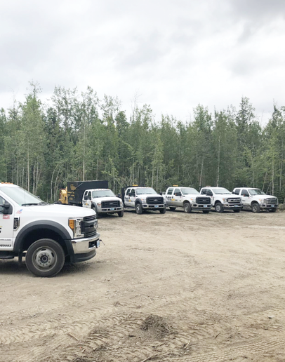 North Pole, Alaska-basedBlackHawkWorks operates a fleet of seven trucks, six F-series Ford models and a dump truck for its tree, grading, snow removal, and mobile welding services. -