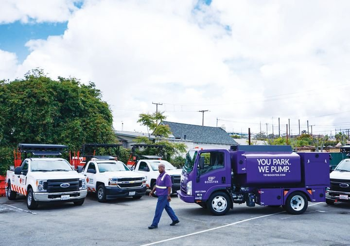 Booster's fuel trucks visit TMI's locations to fuel the company's fleet between shifts. The company is paying 20 to 30 cents less per gallon using Booster than at the pump, reports TMI fleet project manager L.J. Lopez.  - Photo courtesy of Booster.