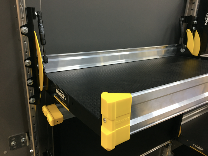 Ranger Design's next generation folding shelf system was designed primarily for delivery companies. Pinch-proof and with gas shocks, the folding shelves allow the driver to change the configuration of the cargo area on the fly. -
