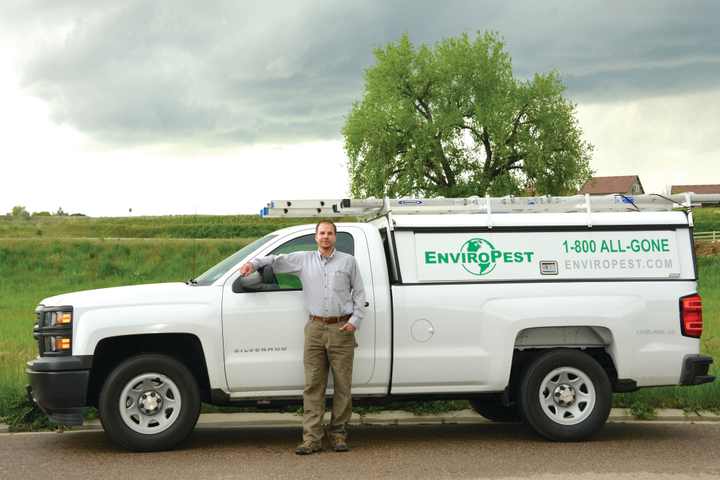 The majority of the EnviroPest fleet, serving northern Colorado, consists of the Chevrolet Silverado 1500 with truck caps. The company's technicians average 15,000 to 18,000 miles per year and run the trucks to 125,000 miles before de-fleeting. 