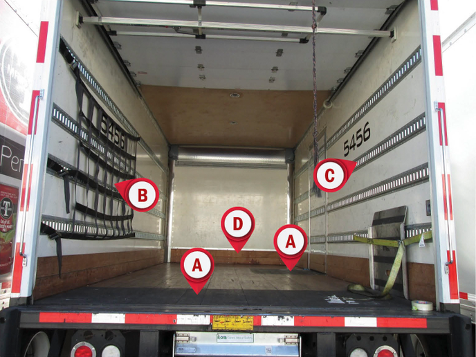 "The blank walls of a box truck offer solutions to secure your load. Non-slip floor coatings (A) are cost effective and roll on like paint. Notice the coating added to the side door as well. This self-designed cargo net (B) has extra strap lengths and adjustable cam-type buckles that allow the net to be curved around a load that has a high stack height where one side of the load is farther forward than the other because of partial deliveries. E-track (C) is essential to keep cargo and equipment safely tied down during transport. Understanding your load heights will help you space the height of the rails (These are placed at 16, 32, 46, and 66 inches.) Notice the two rows of 6-inch hardwood ""scuff"" (D) affixed to the bottom of the sides and front, which prevent damage from lift truck forks moving a pallet. - Photo by Les Smart."