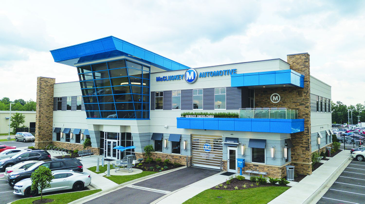 McCluskey Chevrolet in Cincinnati built a new 55,000 sq.-ft. facility a mile from its main showroom to accommodate increased demand from GM's reentry into the medium-duty market. The facility is open seven days a week until 3 a.m. to serve fleet customers.  - Photo courtesy of McCluskey Chevrolet.
