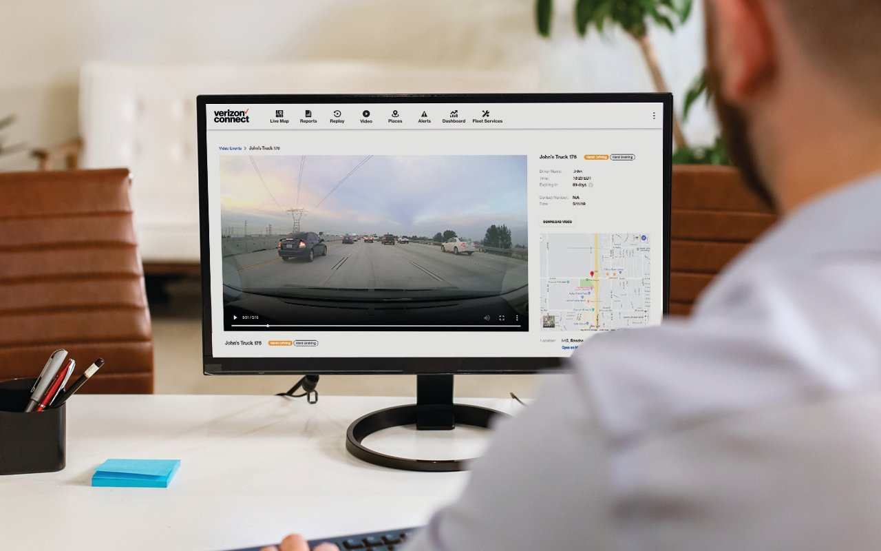Camera-based safety systems, such as the Integrated Video system from Verizon Connect, can deliver real-time video alerts to fleet manager's desktops, smartphones, or tablets. - Imagecourtesy of Verizon Connect.