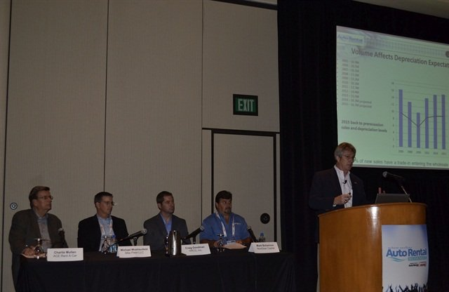 Ricky Beggs presents at the Auto Rental Summit's Fleet Jam Session, which also included a panel discussion on fleet funding, sales and remarketing. Photo by Amy Winter