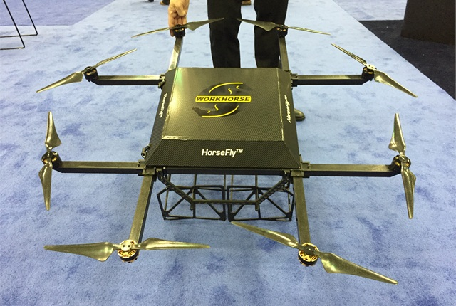 In FAA testing today, the HorseFly drone from Workhorse Custom Chassis delivers 10-lb. packages for 2 cents a mile.