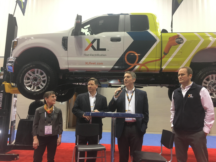 The team from XL Hybrids launched the first plug-in electric hybrid system for the Ford Super Duty F-250 pickup. While third-party hybrid systems are available now, full truck electrification in wide deployment is still a few years down the road. - Photo by Chris Brown.