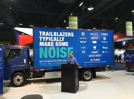 "By all accounts, the electric truck market is ""pre-commercialization,"" with models in testing by almost all major truck makers and some upstart independents. Fuso's all-electric eCanter, seen here at the 2019 ACT Expo in Long Beach, hit production in the UK in early 2018 and has already deployed 100 vehicles in Europe, Japan, and most recently in the U.S."