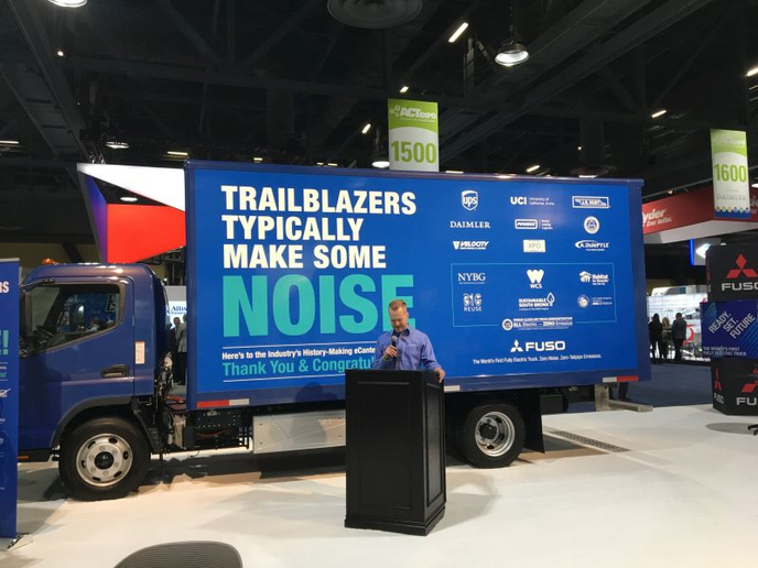 "By all accounts, the electric truck market is ""pre-commercialization,"" with models in testing by almost all major truck makers and some upstart independents. Fuso's all-electric eCanter, seen here at the 2019 ACT Expo in Long Beach, hit production in the UK in early 2018 and has already deployed 100 vehicles in Europe, Japan, and most recently in the U.S. 