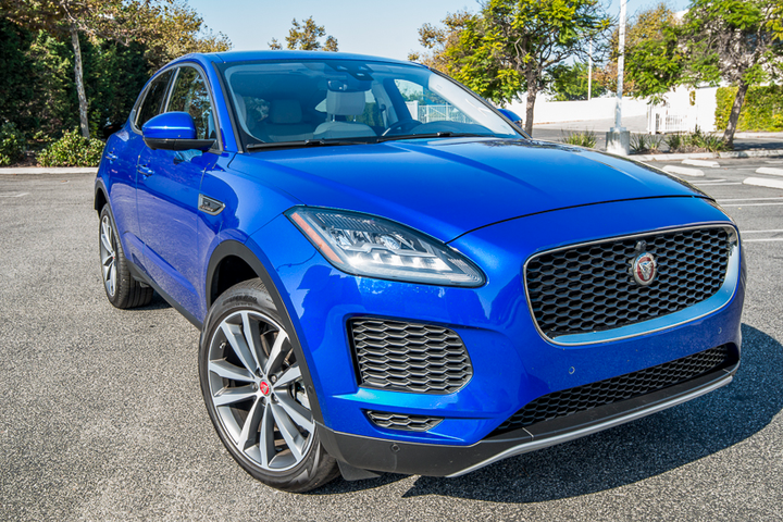 The 2018 Jaguar E-Pace is propelled by a 2.0-liter turbocharged four-cylinder engine that delivers 246 hp and 269 lb.-ft. of torque using a nine-speed automatic transmission. Buyers can opt for the 296 hp tuned engine.