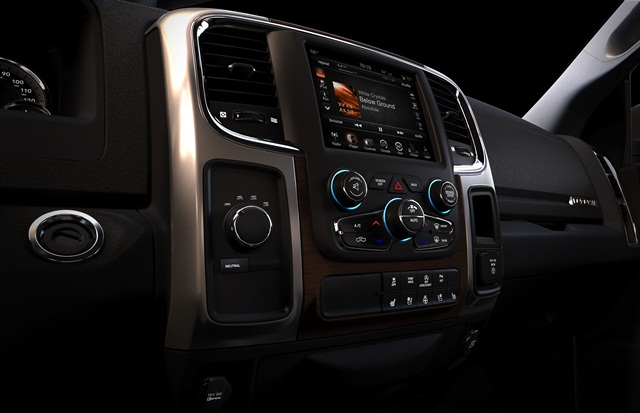 The HVAC system includes a redundant architecture allowing the operator to use either the 8.4-inch touchscreen or manual controls to alter the truck's environment.