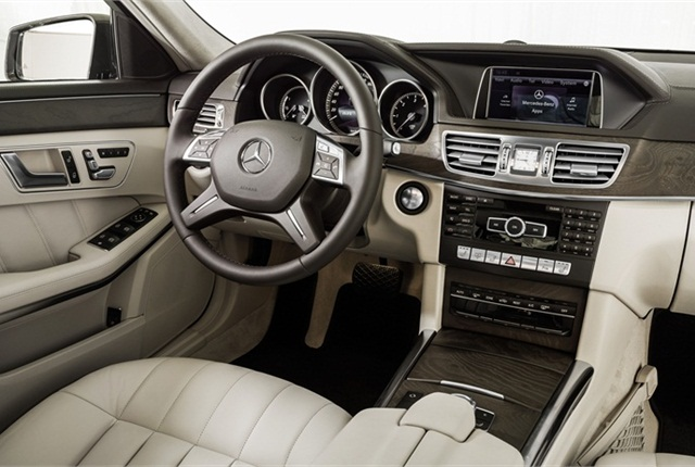The 2014-MY E-Class offers two front end designs, Luxury and Sport. Pictured here is the Luxury design.