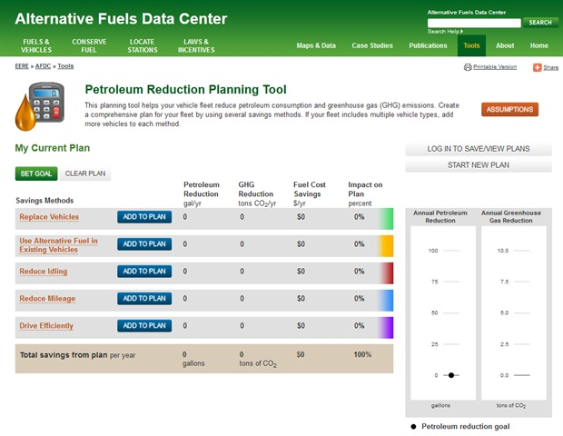 A screenshot of the reduction planning tool.