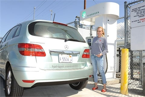 Actress Diane Kruger with her Mercedes F-Cell.