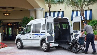 The Transit Connect taxi model with the MobilityWorks wheelchair-accessibility upfitting.