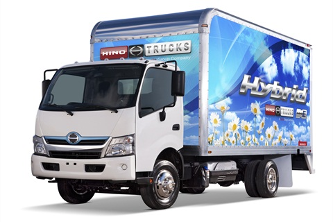 A Hino Hybrid box truck.