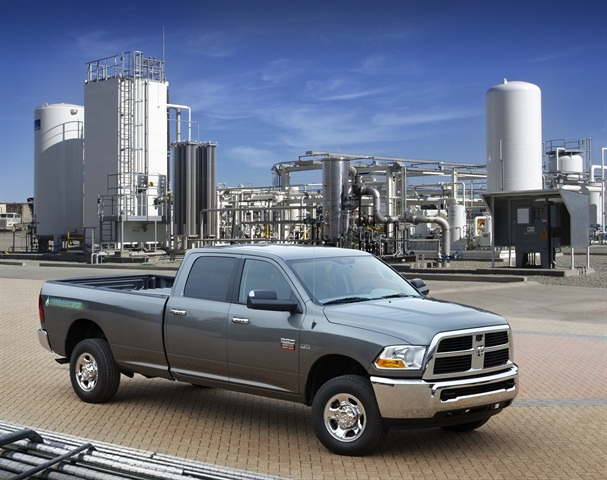 The Ram 2500 CNG is available exclusively as a Crew Cab 4x4 model with 169-inch wheelbase, in either an ST or SLT trim level. Pricing starts at $47,500, including $995 destination charge.
