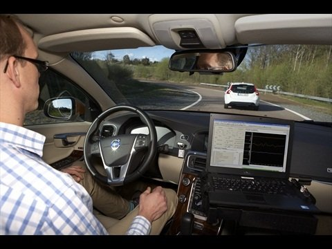 Andreas Ekenberg of Volvo drives a test car as part of the Autonomous Driving Support project.
