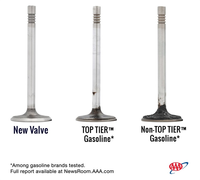 AAA's Fuel Quality Research did an intake valve comparison. Photo courtesy of AAA.