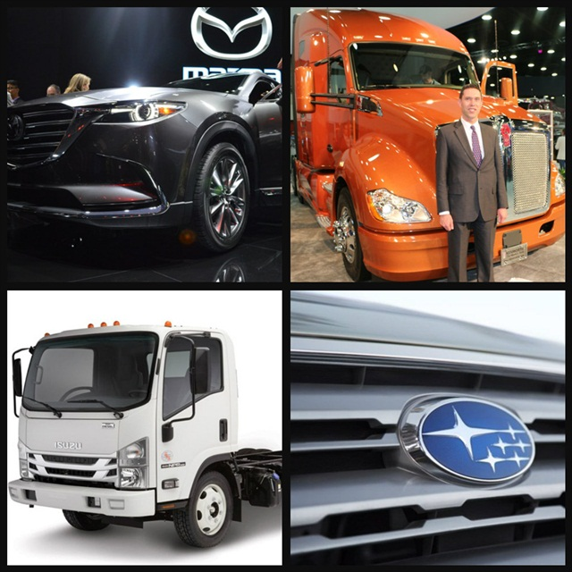 (Clockwise l. to r.) Mazda's 2016 CX9 features a Dynamic Pressure Turbo; Kenworth Trucks has developed a new orange color; Isuzu starts production on its N-Series diesel-powered models; Subaru announces pricing for its 2016 models.