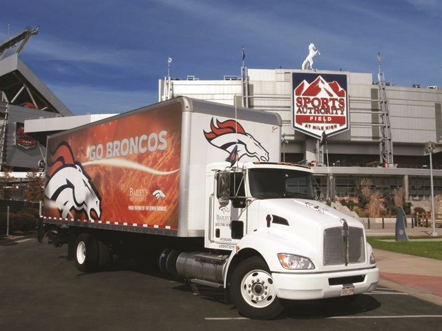 One of Bailey's leased trucks has become a popular photo-op for Denver Broncos fans.