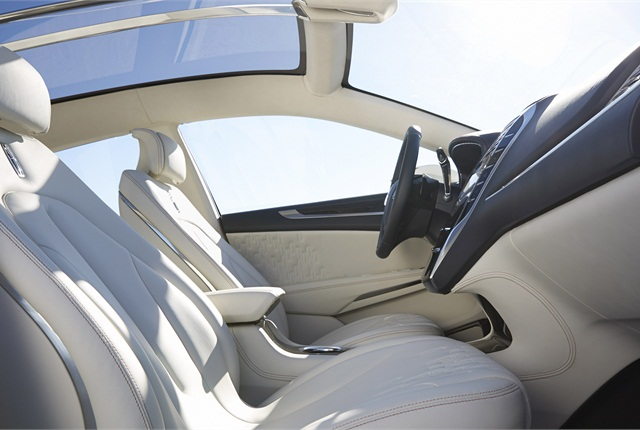 The Lincoln MKC Concept's seats and pillars are wrapped in premium leather.