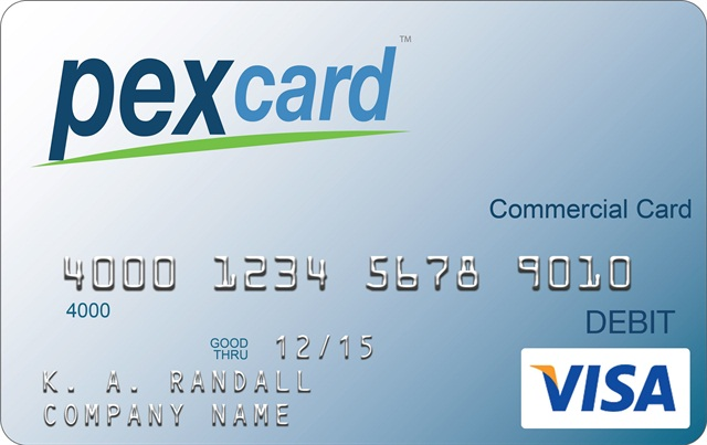 The PEX Visa Prepaid Card is a debit card designed for employee use that businesses can manage via web or smartphone applications. Image courtesy PEX Card.
