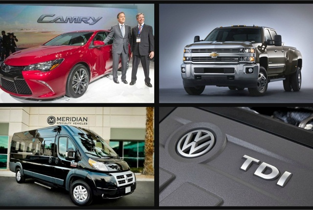 (clockwise l. to r.) 2015 Toyota Camry; 2015 Chevrolet Silverado 3500HD; Meridian Specialty Vehicles' upfitted Ram ProMaster; VW's new TDI clean diesel engine