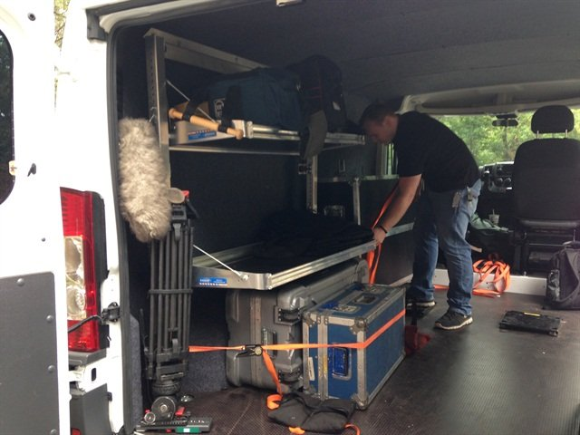 The ProMaster provides enough space for stacking production gear and being able to move it in and out.