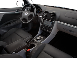 The interior is available in Gray Eco-Cloth (standard) and Black Leather (optional), which is...