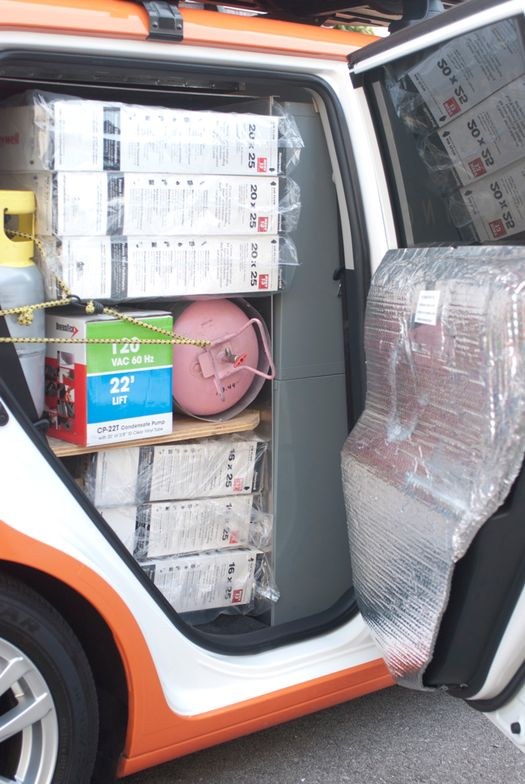 Every inch of space is accounted for. Packing filters is a special challenge.