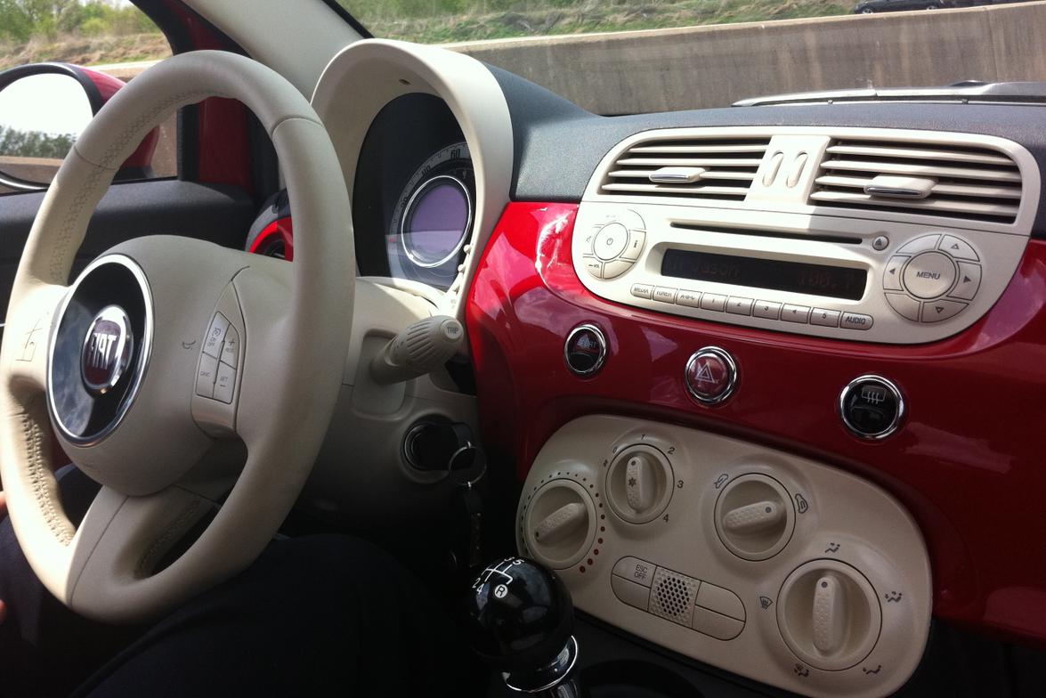 Fiat 500 dash and console.