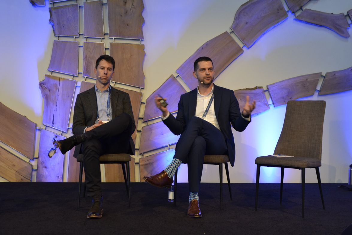 David Peterson (left) of ChargePoint and Evan Speer of the State of California discuss the...