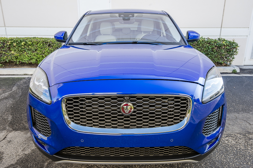 The E-Pace's exterior features Jaguar's signature grille, along with ateardrop design, steeply...