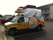 Gold'n Plump Poultry, based in Greely, Colo., uses the Chik'n Cruiser at various events, usually...