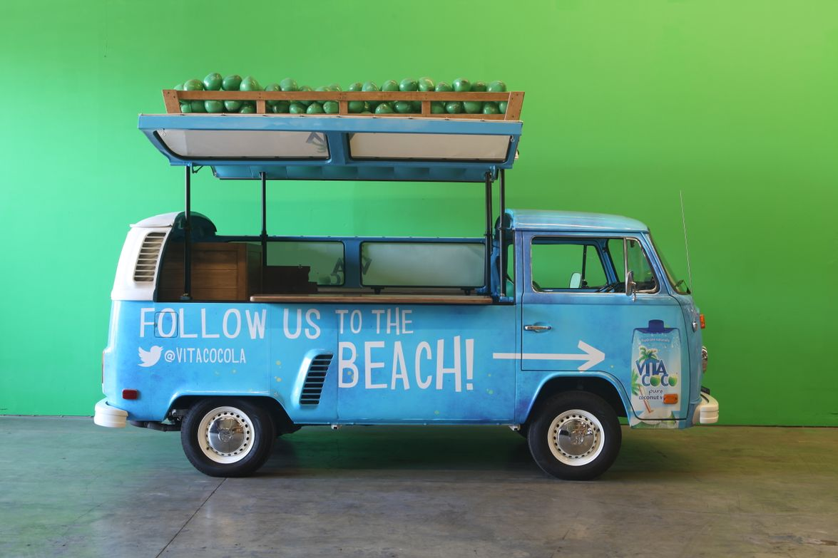 Specialty vehicle maker Cinema Vehicles decked out two 1973 VW buses with a beach vibe for Vita...