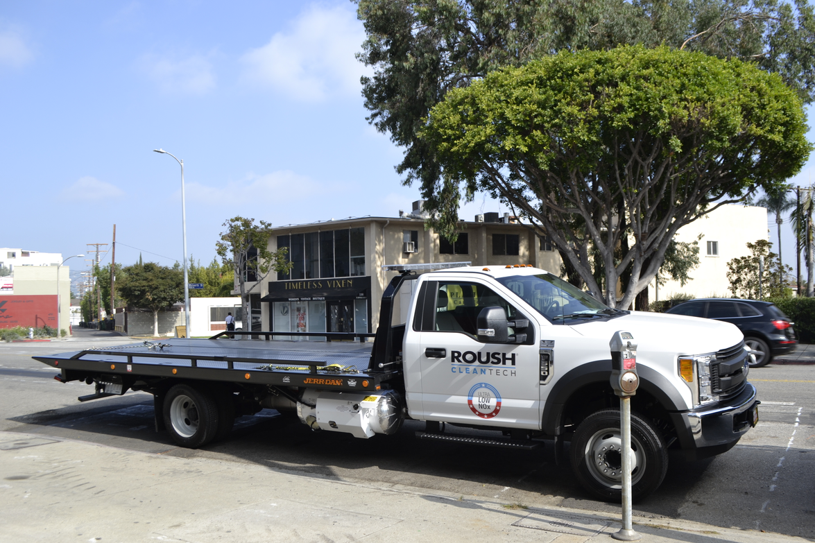 The propane autogas Ford F-550 rollback comes equpped with the Roush CleanTech 35-gallon propane...